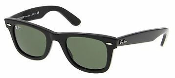 Ray-Ban Original Black Wayfarer Green G-15 Lens 50mm Sunglasses