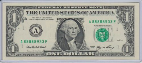 $1 SERIES 2006 BOSTON A/F BLOCK (FW) UNCIRCULATED P-2 LUCKY 8888 8933