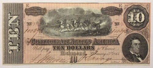 1864 Confederate T68 $10 Note -Choice Uncirculated