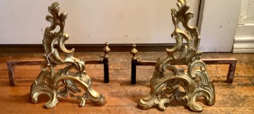 Antique vtg ornate Spain brass Chenets fire logs Andirons scrolled