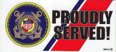 United States Coast Guard PROUDLY SERVED Logo Bumper Sticker/decal USCG US USA