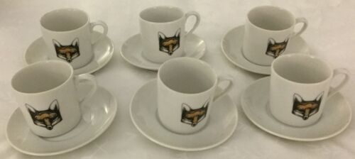Fox Head Set Of Six Demitasse Cups and Saucers Set
