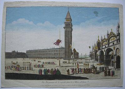 Vue d'optique Guckkastenbild Venedig Markusplatz Venezia Orig Kupferstich 1780