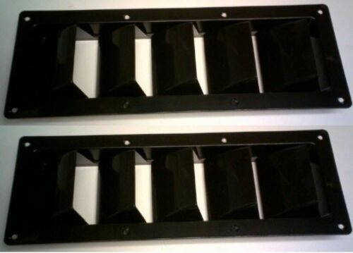 PAIR VENTS 5 LOUVER BLACK MARINE SEA RAY SILVERTON WELLCRAFT RUGGED ABS PLASTIC