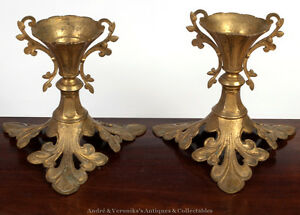 Antique-Unusual-Pair-of-ORMOLU-Brass-Candlesticks-Gilded-Metal-Foliate
