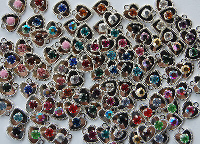 Plated Swarovski Rhinestone - SWAROVSKI RHINESTONE HEART PENDANT BEADS STERLING SILVER PLATE • ASSORTED COLORS