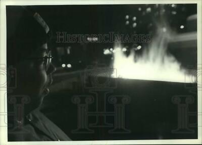 1991 Press Photo Bonfire at Hanover Square Christmas Tree Lighting in Syracuse ()
