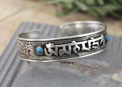 Om Mani Padme Hum Mantra Turquoise Stone Yoga Healing Tibetan Bangle Bracelet