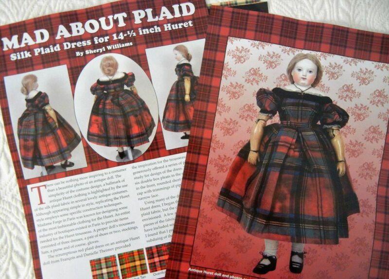 "Uncut French Fashion Doll Taffeta Plaid Dress Pattern fits 14.5"" Huret, Rohmer"