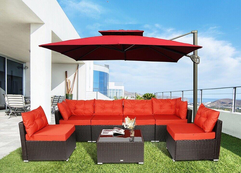 Garden Furniture - 7 PC Outdoor Patio Garden Furniture Sectional Sofa Set Rattan with Table Orange