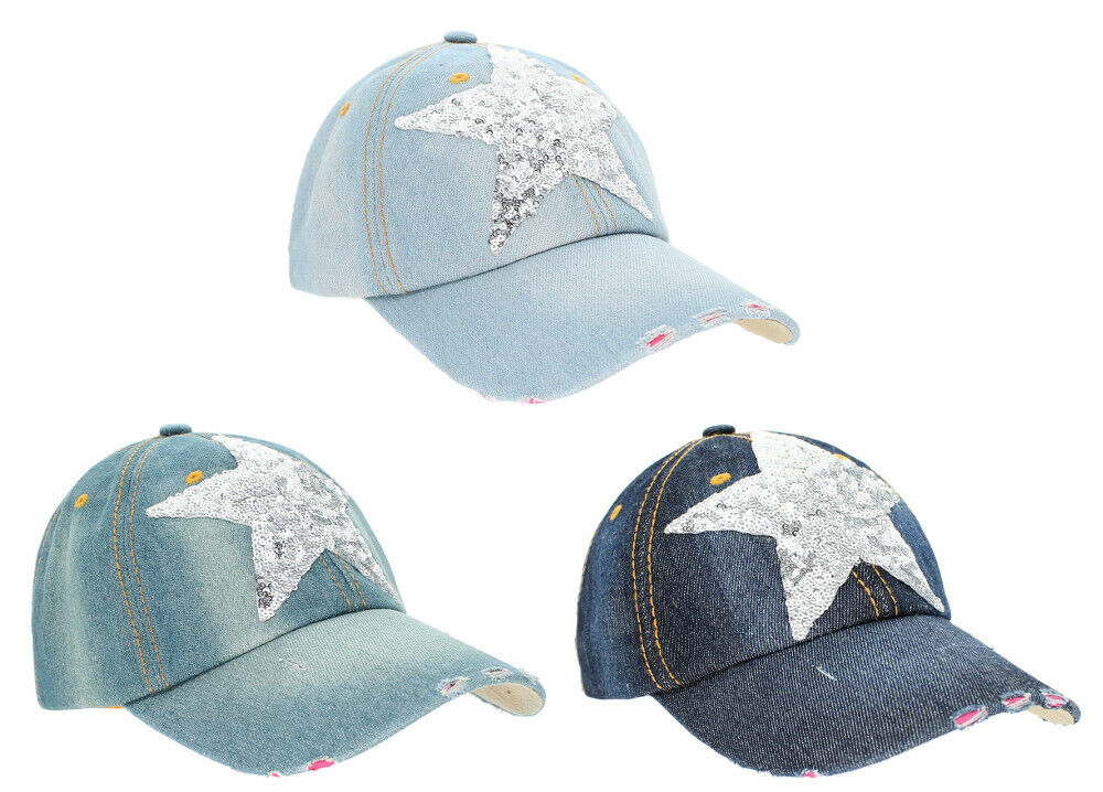 Jeans Basecap Damen Baseball Cap Mütze Kappe mit Pailletten Stern