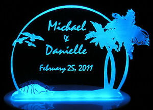 Personalized-Wedding-Cake-Topper-Palm-Tree-Beach-Theme-Optional-LCD-Lighted-base