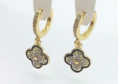 Fancy Huggie Hinge Hoop Earrings Dangling Clover Charm Pave Cubic Zirconia  #33