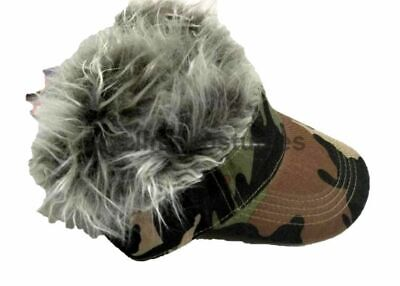 Spiked Hair Camo Visor Cap Joke Novelty Gag Gift Fake Faux Grey Fur Golf Hat Men - Halloween Golf Jokes