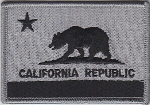 California CA State Flag Patch SUBDUED GRAY/BLACK