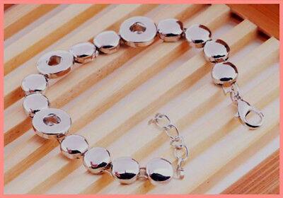 Silver Circular Bracelets - Silver Circular Chain Bracelet Bangle Fit 12mm Chunk Snap Button