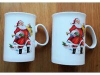 Christmas Santa Claus Traditional Fine Bone China Mugs Set: Jason Staffordshire Porcelain Collectors