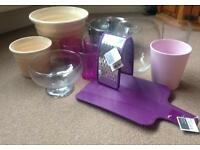 Selection of household and kitchenware items. New and used