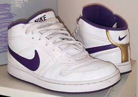 Nike Trainers Ladies Size 5 UK White Purple Gold Boxed VGC