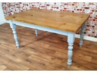 Solid Oak Dining Rustic Chunky Table Antique Manor House Finish Full Stave - Free Delivery
