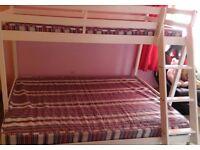 Wooden White Triple Bunk Bed plus Mattresses