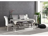 Louis marble dining table + 6 grey plush knocker back dining chairs ! Special Offer