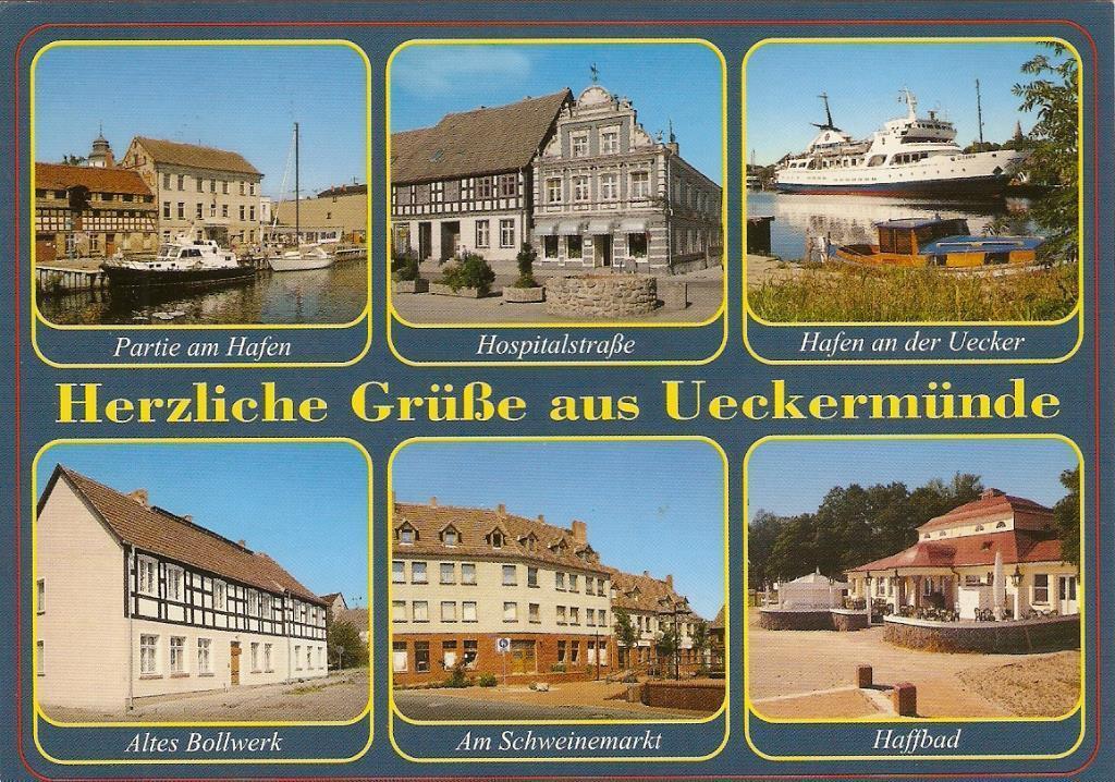 Postkarte von Ueckermünde mit Hafen Vorpommern Schiffe Ansichten, gebraucht gebraucht kaufen