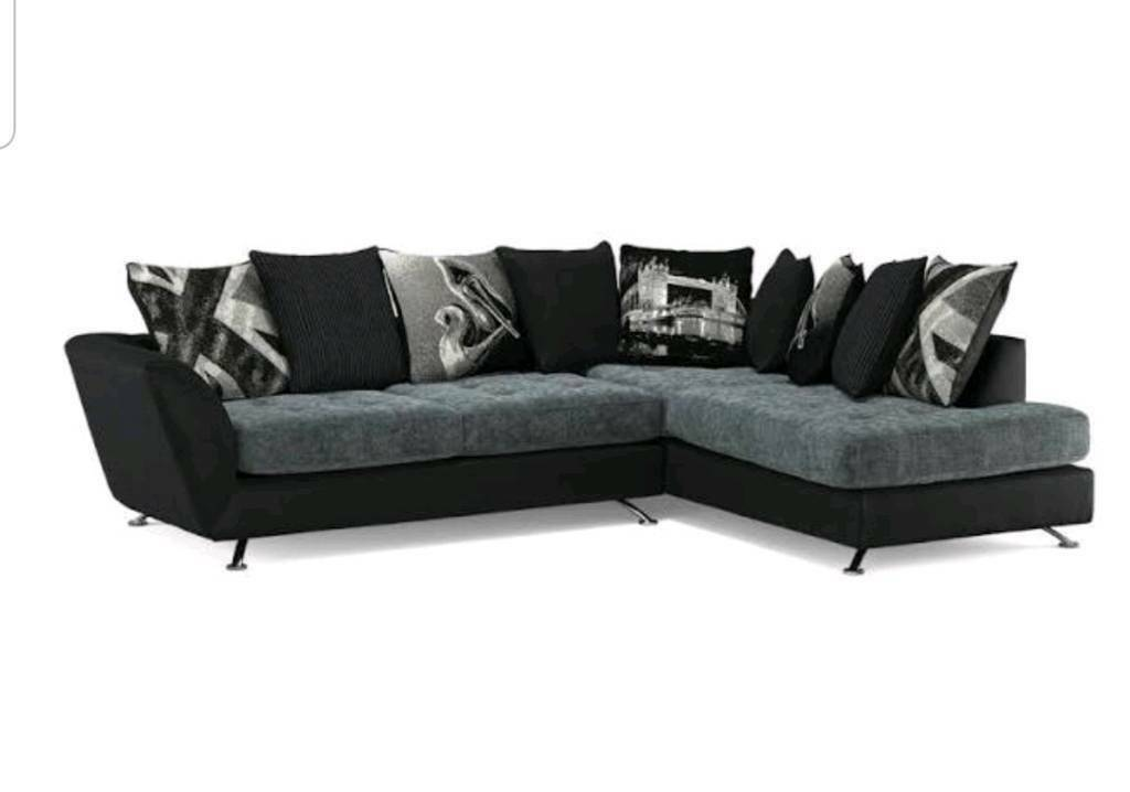 Sofology Fabric Black And Grey Corner Sofa With Chaise