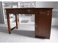 1950's 1960's VINTAGE RETRO OFFICE DESK SOLID WOOD BLACK LEATHER TOP INSERT TOP WRITING DESK _