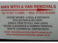 MAN WITH A VAN REMOVALS SERVICES