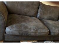 Brown suede corner sofa