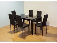 STUNNING GLASS DINING TABLE SET BLACK OR WHITE WITH 4 OR 6 FAUX LEATHER CHAIRS BRAND NEW - RRP £349