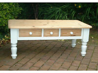 Traditional Rustic Solid Chunky Pine Coffee Table with Three Drawers