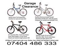 All Sorts of Bicycles for Sale, House clearance forces sale of very good bikes
