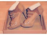 high heel open toe boots