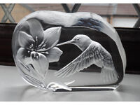 Dartington glass paperweight signed by Capredoni - hummingbird design A gift rather than Easter egg
