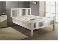 DOUBLE WHITE WOODEN BED WITH ORTHO MATTRESS