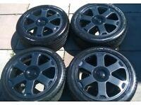 genuine audi s3 alloy wheels 17inch refurbished metalic black good tyres