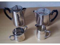SILVER PLATE 4 PIECE TEA SET CONSISTING OF TEAPOT, WATER JUG, MILK JUGS & SUGAR BOWL