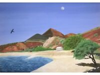 ORIGINAL OIL PAINTING ON CANVAS OF LONG BEACH ASCENSION ISLAND SOUTH ATLANTIC