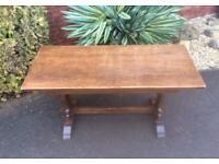 Antique Vintage Solid Oak Four Plank Farmhouse Kitchen Dining Table