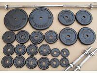 York Cast Iron Weights 62kg + bar + dumbbell handles crossfit gym bodybuilding
