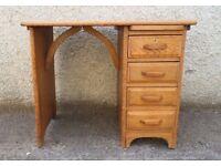 Antique Art Deco Oak Desk, 1920's, Oak hand stripped