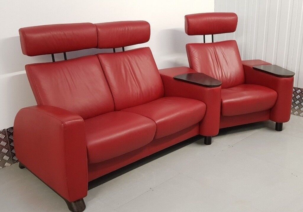 ekornes stressless arion home cinema suite 2 seater chair leather red in leeds west yorkshire. Black Bedroom Furniture Sets. Home Design Ideas