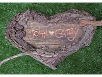 Love Gift Custom Carved Names | Handmade Recycled Wood Bark Heart Outdoors Garden Home Decoration