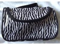 Brand New Zebra Print Makeup Bag with detachable mirror and accessories pockets
