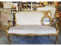 FRENCH GOLD GUILD TWO SEATER CHAIR ...PERFECT FOR WAITING AREA BEAUTY BOUTIQUE SALON