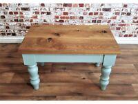 Chunky Rustic Oak Coffee Side Table Danish Finish Full Stave Farmhouse Style