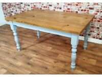 Turned or Straight Leg Any Size Any Colour Farmhouse Rustic Oak Kitchen Dining Table