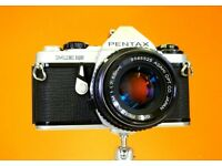 Pentax ME Super 35mm SLR camera with Pentax f1.7 lens, case & strap. Excellent near new condition.